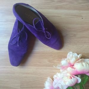 Gucci Purple Suede Lace Up Chukka Booties Size 38